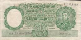 BILLETE DE ARGENTINA DE 50 PESOS LEYES Nº 12962 Y 13571 (BANKNOTE) DIFERENTES FIRMAS - Argentina