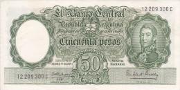 BILLETE DE ARGENTINA DE 50 PESOS LEYES Nº 12962 Y 13571 CALIDAD MBC (VF) (BANKNOTE) DIFERENTES FIRMAS - Argentina