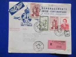 Lettre Recommandée Du Maroc Demenagements Intercontinentaux 26/6/62 Etiquette Par Avion - Morocco (1956-...)