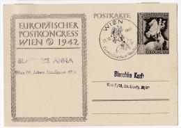 Europaisches Postkongress Wien 1942 Illustrated Postal Stationery Postcard Postkarte Postmarked Bb160225 - Deutschland