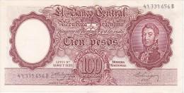 BILLETE DE ARGENTINA DE 100 PESOS LEYES Nº 12962 Y 13571  AÑOS 1957 A 1967 EN EBC (XF) (BANKNOTE) DIFERENTES FIRMAS - Argentina