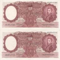 PAREJA CORRELATIVA DE 100 PESOS LEYES Nº 12962 Y 13571  AÑOS 1957 A 1967 EN EBC (XF) (BANKNOTE) DIFERENTES FIRMAS - Argentina