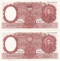 PAREJA CORRELATIVA DE 100 PESOS MONEDA NACIONAL  AÑOS 1967 A 1969 EN EBC (XF) (BANKNOTE) DIFERENTES FIRMAS - Argentina