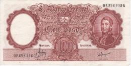 BILLETE DE ARGENTINA DE 100 PESOS MONEDA NACIONAL  AÑOS 1967 A 1969 EN MBC (VF) (BANKNOTE) DIFERENTES FIRMAS - Argentina