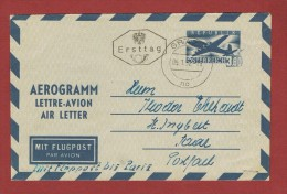 Luftpost Air Mail Aerogramm 3,80 Sch Ersttag 5/1/1952 Graz - St Ingbert Saar (Flug Bis  Paris??) - 1945-.... 2. Republik