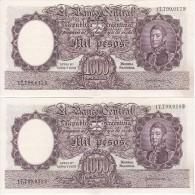 PAREJA CORRELATIVA DE 1000 PESOS AÑOS 1955 A 1965 EN CALIDAD EBC (XF)  (BANKNOTE) DIFERENTES FIRMAS (BARCO-SHIP) - Argentina