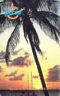 ST. EUSTATIUS  18 FL PALM TREE AT SUNSET LANDSCAPE  CHIP  CAT CODE: STAT C5  READ DESCRIPTION !! - Antilles (Netherlands)