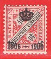 MiNr.224 X Altdeutschland Württemberg Dienst - Wuerttemberg