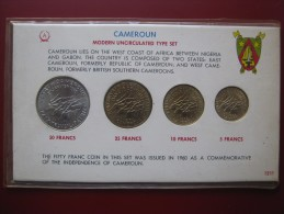Cameroun Cameroon 1960 -s 5 10 25 50 Francs 4 Coin UNC Modern Type Set In Card With Info - Cameroon