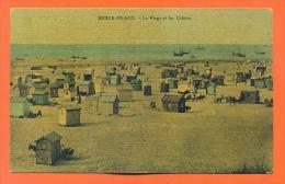 """Dpt  62  Berck Plage """"  La Plage Et Les Cabines  """" Carte Toilée - Berck"""