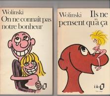WOLINSKI - 3 LIVRES DE POCHE ILLUSTRES -GEORGES LE TUEUR-ILS NE PENSENT QU'A CA-ON NE CONNAIT PAS NOTRE BONHEUR - Wolinski