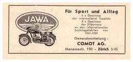 Werbung / Reklame - JAWA , COMOT AG In Zürich 1961 , Motorrad , Anzeige !!! - Motos