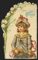 Chromo En Relief Chocolat POULAIN - Jeune Fille, Mandoline Et Muguet - Poulain