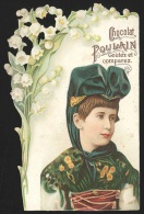 Chromo En Relief Chocolat POULAIN - Portrait De Jeune Fille En Costume Et Muguets - Poulain