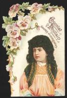 Chromo En Relief Chocolat POULAIN - Portrait De Jeune Fille En Costume Et Fleurs - Poulain