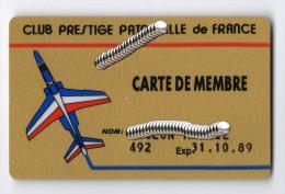 Carte De Membre Du Club Prestige  Patrouille De France - Aviation