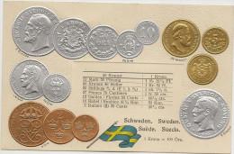 Carte Postale Serie HSM Gauffrée Representant Monaie Et Tableau De Change. Schwweden - Sweden - Suede Suecia - Monete (rappresentazioni)