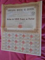 Action 100 Francs Compagnie Minière De CHARENS Drôme Lyon - 1928 - Mines