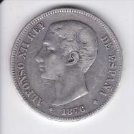 MONEDA DE ESPAÑA DE 5 PTAS DEL AÑO 1876 DE ALFONSO XII - ESTRELLAS DIFUSAS (COIN) SILVER-PLATA-ARGENT - [ 1] …-1931 : Reino