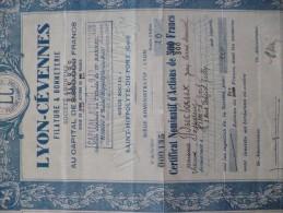 Action Certificat Nominatif D'actions 800 Francs Lyon Cévennes Filature Et Bonneterie  Saint Hyppolyte Du Fort Gard - Banque & Assurance
