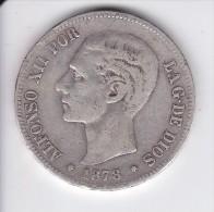 MONEDA DE ESPAÑA DE 5 PTAS DEL AÑO 1878 DE ALFONSO XII - ESTRELLAS DIFUSAS (COIN) SILVER-PLATA-ARGENT - [ 1] …-1931 : Reino