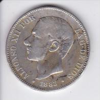 MONEDA DE ESPAÑA DE 5 PTAS DEL AÑO 1883 DE ALFONSO XII - ESTRELLAS DIFUSAS (COIN) SILVER-PLATA-ARGENT - [ 1] …-1931 : Reino