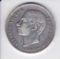 MONEDA DE ESPAÑA DE 5 PTAS DEL AÑO 1885 DE ALFONSO XII - ESTRELLAS DIFUSAS (COIN) SILVER-PLATA-ARGENT - [ 1] …-1931 : Reino