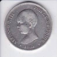 MONEDA DE ESPAÑA DE 5 PTAS DEL AÑO 1889 DE ALFONSO XIII - ESTRELLAS DIFUSAS (COIN) SILVER-PLATA-ARGENT - [ 1] …-1931 : Reino