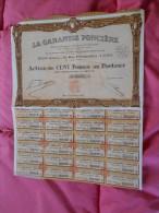 Action 100 Francs La Garantie Foncière  Lyon - 1929 - Banque & Assurance