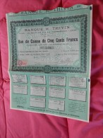 Bon De Caisse De 500 Francs Banque M THIVIN  Lyon - Timbre Fiscal 1936 - Banque & Assurance
