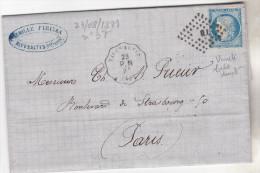 1871.Lettre Du 23.08 De Rivesaltes Pour Paris, Tp N°37 Avec Belle Variété,oblit Convoyeur Station. Bel Ensemble Complet - Marcophilie (Lettres)