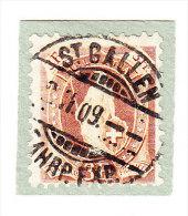 Heimat SG St. Gallen 3.2.1909 2-Kreis-Vollstempel Auf 3Fr. Stehende Helvetia #100-B - 1882-1906 Armoiries, Helvetia Debout & UPU