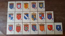 18 CARTES SERIE COMPLETE ARMOIRIES DE PROVINCE 1951 1953 1954 CARTE MAXIMUM CARD /FREE SHIPPING REGISTERED - 1950-59