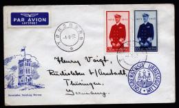 A3713) Norwegen Norway Brief Von Tonsberg 4.8.52 Mit Mi.376-377 Nach Rudisleben - Norway