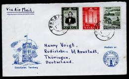 A3714) Norwegen Norway Brief Von Tonsberg 13.12.54 Mit Mi.384, 387, 388 Nach Rudisleben - Norway