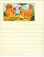 CHAUSSETTES DD : Rare Encart Publicitaire De Carnet Ligné Illustré Maurice PARENT Litho Avec Poules Et Chaussette - Drogisterij En Apotheek