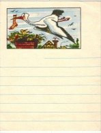 CHAUSSETTES DD : Rare Encart Publicitaire De Carnet Ligné Illustré Maurice PARENT Litho Avec Cigogne Et Chaussette - Drogisterij En Apotheek
