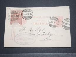 ROUMANIE - Entier Avec Rare Griffe Pour L'étranger Et Vignette Pour Caen - Janv 1906 - P16903