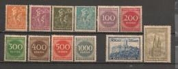 Timbres - Allemagne  - 1923 - Série De 12 Timbres - Neuf Avec Trace De Charnière - - Alemania