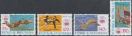 Indonesia 1985 National Sports Week, Jakarta, Parachuting, Sailing, High Jump. Mi 1177-1180 MNH - Indonesië