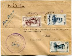 """MADAGASCAR LETTRE PAR AVION AVEC GRIFFE """"GENDARMERIE NATIONALE"""" DEPART TANANARIVE 14-1-1953 POUR L´ALGERIE - Lettres & Documents"""