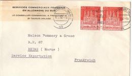 EGL-L1 - ALLEMAGNE N° 238 Cathédrale De Spire Paire S/lettre Des Services Commerciaux Français En Allemagne Du Sud 1962 - Briefe U. Dokumente