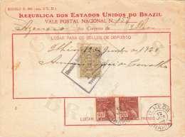 BRASILIEN 1928 - Sehr Seltene 50$000 + 2x500 Reis Frankierung Auf (Paketkarte?) Beleg Gel.v.Brazil > - Briefe U. Dokumente