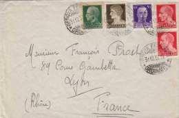 ITALIEN 1937 - Seltene 5 Fache Frankierung Auf Hotel-Brief (Hotel Berchielli), Stempel Genova > Lyon - Ganzsachen