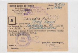 Romania - Bucuresti - Centrala Evreilor Din Romania - Judaica - Chitanta - Invoices & Commercial Documents