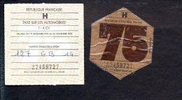 Timbre Fiscal - Récépissé + Vignette (non Collée) Automobile De 1 à 4 Cv - H - 1975 Année 74 / 75 Troarn Calvados 14 - Fiscaux