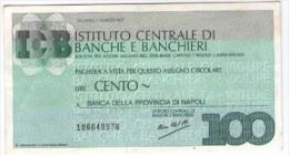 Mini Assegno Istituto Centrale Banche E Banchieri  £ 100 - [10] Assegni E Miniassegni