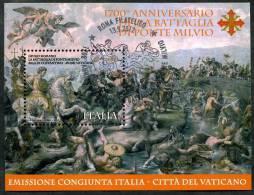 2012 Italia, Battaglia Ponte Milvio Foglietto Usato Con Annullo Ufficiale - 6. 1946-.. Republic