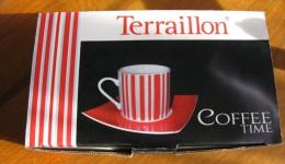 Tasses Coffe Time Avec Soucoupes Carrées X 4 Terraillon Neuves TBE - Tasas