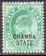 INDIA CHAMBA 1907 SG #41 ½a MH POSTAGE & REVENUE - Chamba